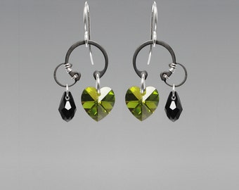 Green Swarovski Crystal Earrings, Industrial Earrings, Olivine Swarovski Crystal, Wedding Jewelry, Wire Wrapped, Cosmic Ray II v5