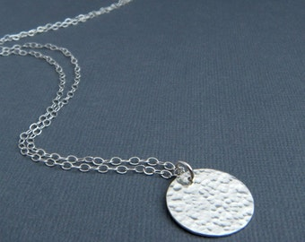 """LONG silver necklace. hammered sterling silver circle pendant. contemporary. modern. minimalist. jewelry. ready to ship gift for her 3/4"""""""