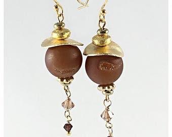 Rose Druzy Agate Earrings Druzy Dangle Earrings, Druzy Bead Earrings Lond Druzy Dangle Drop Ball Earrings Swarovski Earrings Druzy Jewelry
