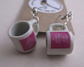 Keep Calm and Eat Cake  Mug Earrings