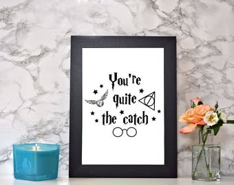 Framed 'You're Quite The Catch' print With Black Frame
