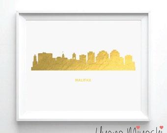 Halifax Nova Scotia Skyline Gold Foil Print, Gold Print, Custom Print in Gold, Art Print, Halifax City Skyline Gold Foil Art Print