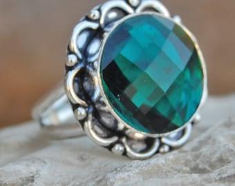 Dioptase quartz Ring, round cut Dioptase quartz sterling silver ring, Dioptase quartz Solid silver ring Jewelry