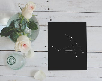 Andromeda, Constellation, Astrology, Wall Decor, Digital Download, Constellations, Zodiac, Stars, Andromeda Print, Home Decor, Night Sky
