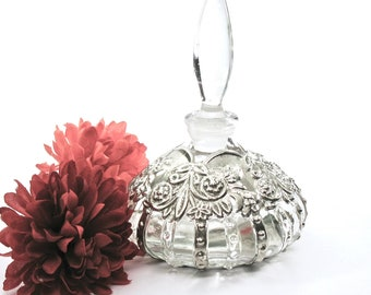 Perfume Bottle, Sylvestri, Handcrafted, Silver Overlay, Repousse, Clear Glass Stopper, Victorian Revival, 1970's, Gift Idea, Excellent