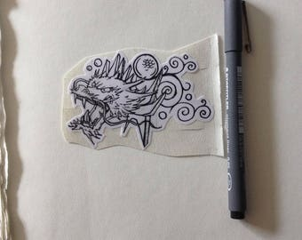 smaller dragon head sticker