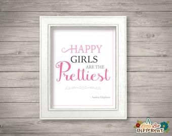 Happy girls are the prettiest - audrey hepburn quote - 8 x 10 printable (INSTANT DOWNLOAD) Girls Room Nursery Wall Art - Digital Print