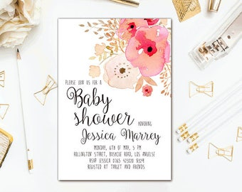 Floral baby shower invitation Printable baby shower invite Pink floral baby shower invite Summer baby shower invitation Digital baby shower