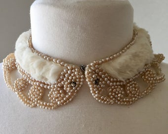 Vintage Collar Fur and Pearl