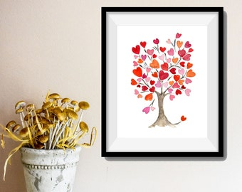 Hearts tree art print, Personalized art print, Hearts tree No.2, Valentine art, anniversary, weddings, girls room, dorm decor, mothers day