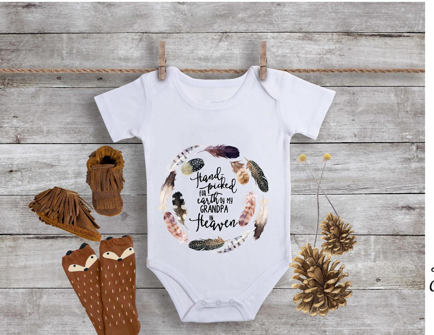 Handpicked in Heaven By my Grandpa esie Boho Baby Clothes