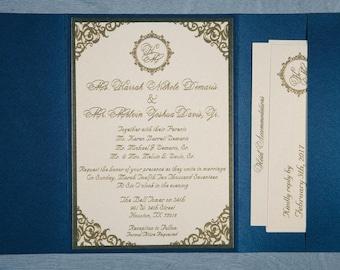 Royal Wedding Invitation, Royal Invitation, Luxurious Wedding Invitation, Luxurious Invitations, Navy And Gold Invitation, Navy And Gold