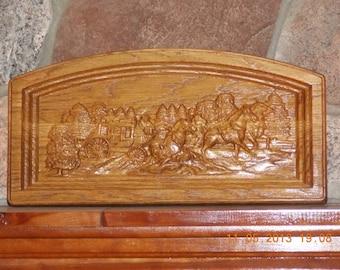 Western Decor Stagecoach ~ Stagecoach Wood Carving ~ Western Home Decor ~ Western Wall Art ~ Western Sign ~ Rustic Cowboy Art Wall Hanging