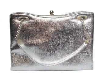 vintage 1960's large silver handbag / ILA of California / metallic chrome / vintage purse / vintage accessories