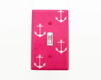 Anchors Light Switch Cover - Girls Nautical Nursery - Pink Switch Plate