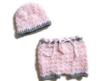 Newborn Shorts and Hat Set, Crocheted Diaper Cover, Girl Baby Shorts,Pink and Grey, Baby Pants, Photo Prop, Baby Shower Gift