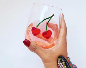 Cherries Hand Painted Wine Glass