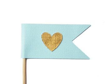 Pastel Blue and Gold Flag Heart Cupcake Toppers / Appetizer Picks / Food Picks /
