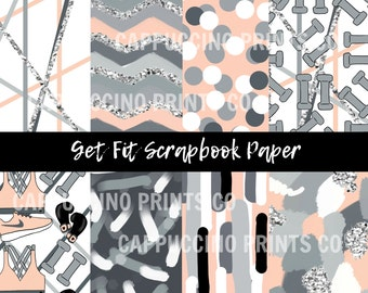 Get Fit - Digital Scrapbook Papers - Digital Download - Hand Drawn Clipart