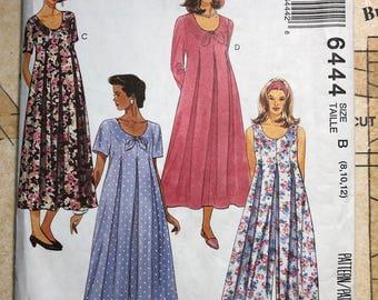 UNCUT Womens Maternity Dress Sewing Pattern Size 8 10 12 90s Mccalls 6444 M6444 Princess Seam Pleated Bow Design Front 90s Maternity Pattern