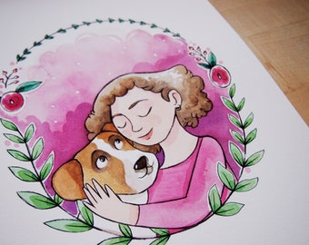 PET portrait, custom illustration, customizable gift for who loves animals, custom portrait with pet, dog portrait, pets illustration