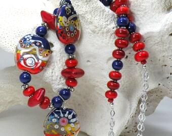 SAILORS DELIGHT Handmade Lampwork Bead Necklace