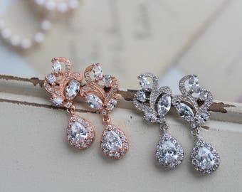 Art Deco Earrings , Bridal Earrings, Wedding Earrings, Vintage Style Zircon Earrings,  Crystal  Drop Earrings,  Stud Earrings , Bridesmaid