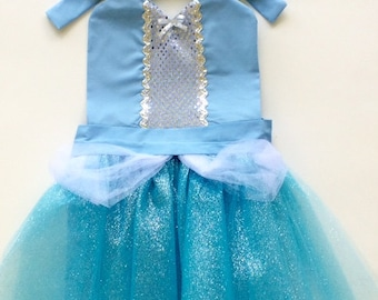 CINDERELLA BIRTHDAY Outfit Tutu Dress Up Apron or Dress Up Costume Cinderella Dress Toddler Cinderella Dress Girls Princess Costume Party