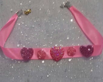 Necklace with fabric and hearts