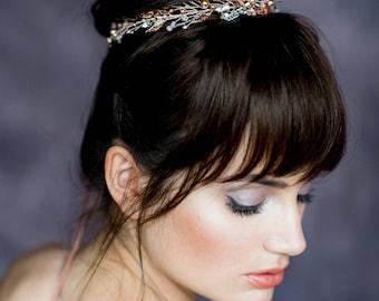 Silver Crystal Bridal Crown, Rose Gold Pearl Wedding Crown, Gold Leaf Crown, Laurel Leaf Crown, Rhinestone Vine Crown, Gold Tiara FLORENTINA