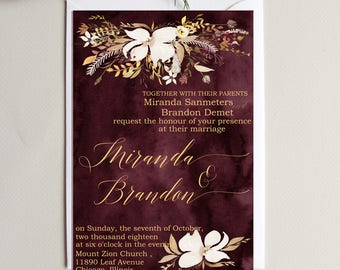 Burgundy Wedding Invitations Suite Wedding  Invitation Set Personalized  Floral Wedding Invitation  Wedding Invitation set