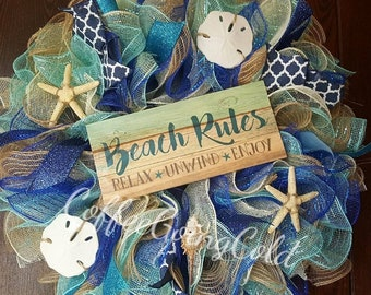 Beach Wreath, Summer Wreath, Beach Rules, Beach Rules Wreath, Beach Wreath, Seashell Wreath, Beach, Mermaid, Beach House, Nautical, Seashell