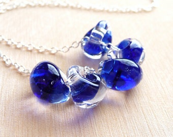 Cobalt Blue Lampwork Necklace, Sapphire Blue Lampwork Glass Teadrops- Sterling Silver Necklace, Christmas Gift, Handmade Gift