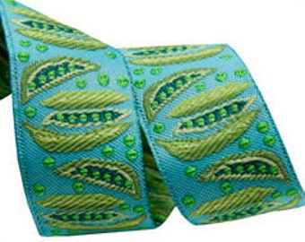 7/8-inch woven jacquard ribbon, green peas on turqoise. Two peas in a pod?