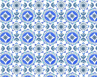 "Clothworks, From Ellen Crimi-Trent, ""Marguerite"" Blue Geometric, yard"