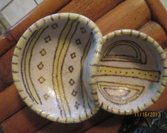 REDUCED!! FREE SHIPPING!! -Mid Century Modern Guido Gambone Very Rare Double Bowl- Signed One of a Kind