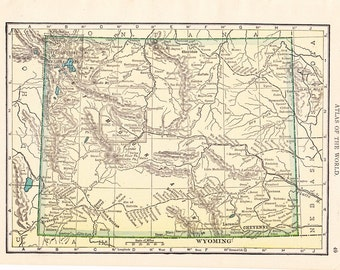 1912 State Map Wyoming - Vintage Antique Map Great for Framing 100 Years Old