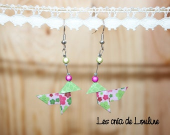 "Earrings ""cocotte"" origami rose flower"