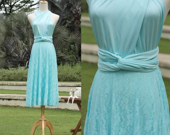 Convertible Lace Dress In Tiffany Blue