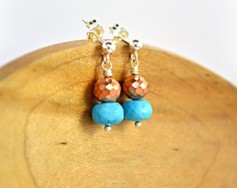 Copper and Turquoise Earrings, Silver Post Earrings, Copper Pyrite, Turquoise Howlite, Stacked Earrings, Silver Earrings, Post Earrings