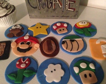 Edible Mario Brother Cupcake Toppers