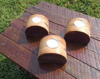 Candle holders, three, wood