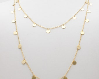 14k gold discs necklace solid gold multiple disc necklace