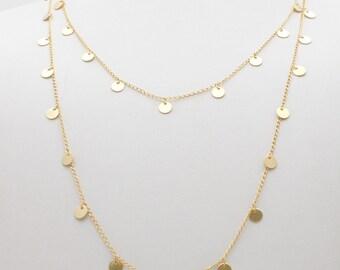 14k gold discs necklace solid gold multiple disc necklace gold discs necklace long delicate gold necklace boho style necklace aloadofball Images