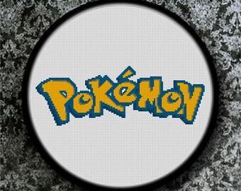 Gráfico PDF Punto de Cruz, Logo Pokemon, Esquema Punto de Cruz Descargable