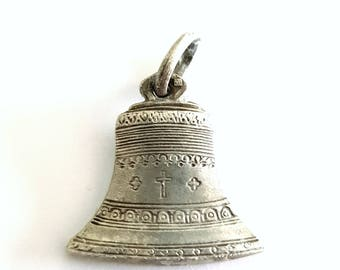 vintage bell medal, silver plated, Jesus pendant, christian jewelry