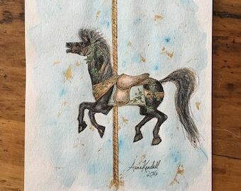 Carousel Horse - Ivy - Original - Hand Painted - 8x10 - Illustration