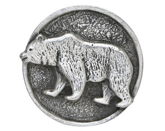 2 Grizzly Bear 1 inch ( 25 mm ) Pewter Metal Buttons Antique Silver Color