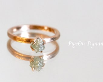 Raw Diamond Engagement Ring-Raw Diamond Solitaire Ring in Solid Gold-Ready to Ship 14k Gold Raw Diamond Ring-One of a kind Engagement Ring