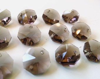 50 Coffee 14mm Octagon Chandelier Crystals Prism Beads